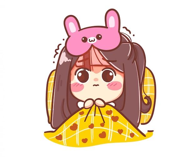 Mädchen haben fieber mit einer kaninchen-augenbinde auf dem bett liegend. karikaturkunstillustration premium-vektor