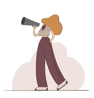 Mädchen hält lautsprecher und spricht. weibliche figur, die mit dem megaphon schreit. frauenpower, aktivistin, protest. flache karikaturillustration.