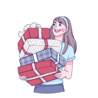 Mädchen hält präsentiert karikaturfigur illustration