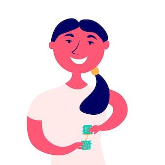 Mädchen hält zerbrochenes halbes aloe-vera-blatt