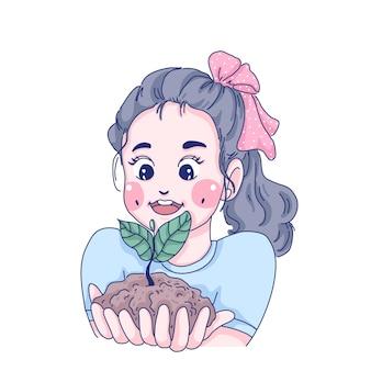 Mädchen halten pflanzenkarikaturcharakterillustration