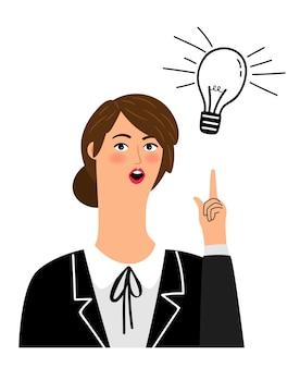 Mädchen hat idee. lustiges karikaturbüromädchen kreativ, das nach oben illustration zeigt, geschäftsfrau-heureka, die lokalisiert