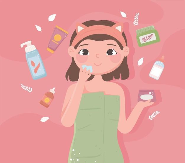 Mädchen hautpflegeprodukte bio-cartoon