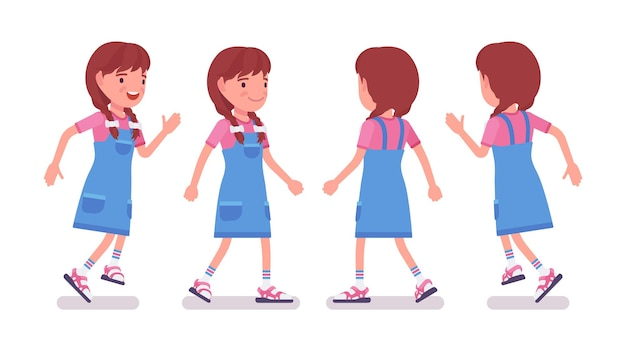 Mädchen im alter von 7 bis 9 jahren, aktives weibliches kind im schulpflichtigen alter, das läuft, geht