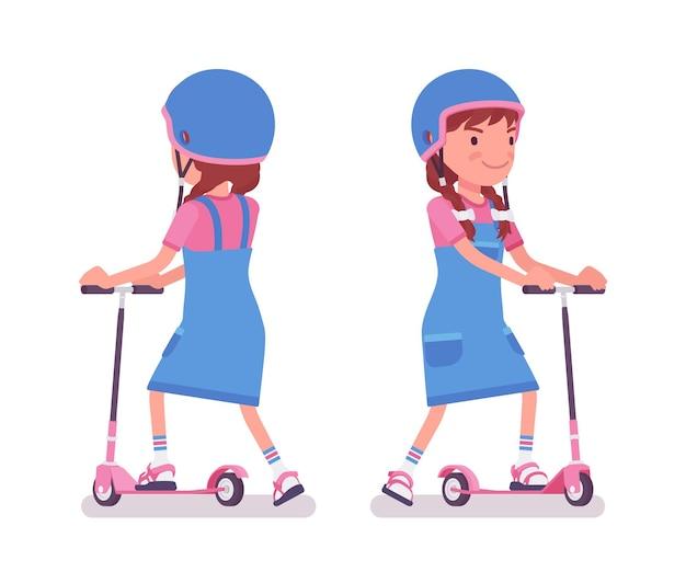Mädchen im alter von 7 bis 9 jahren, kind im schulpflichtigen alter, das einen tretroller fährt