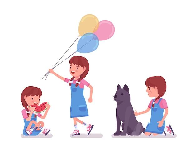 Mädchen im alter von 7 bis 9 jahren, kinderaktivität im schulpflichtigen alter