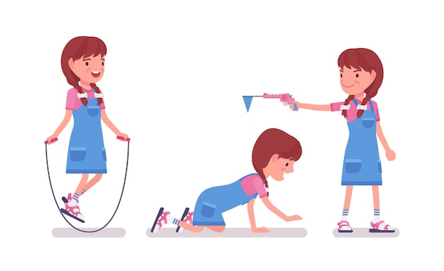 Mädchen im alter von 7 bis 9 jahren, kinderunterhaltung im schulpflichtigen alter