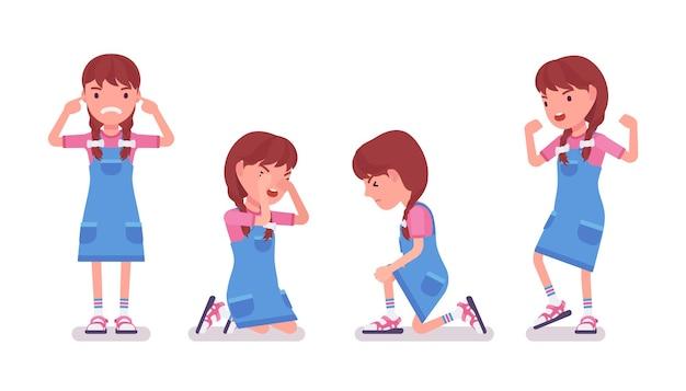 Mädchen im alter von 7 bis 9 jahren, negatives weibliches kind im schulpflichtigen alter
