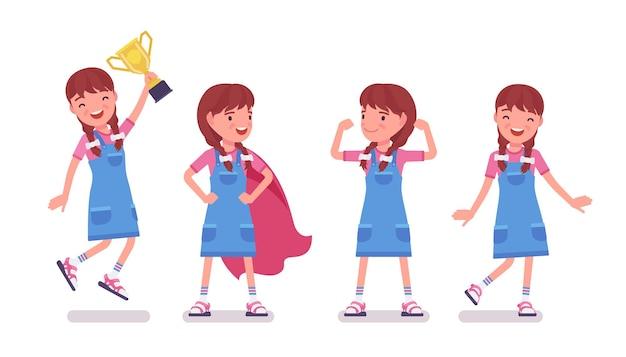 Mädchen im alter von 7 bis 9 jahren, positives weibliches kind im schulpflichtigen alter