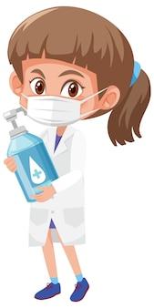 Mädchen im arztkostüm, das händedesinfektionsmittelflasche hält