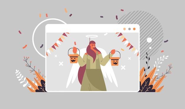 Mädchen im engelskostüm feiert glücklichen halloween-feiertag selbstisolierung online-kommunikationskonzept webbrowser fensterporträt horizontale vektorillustration