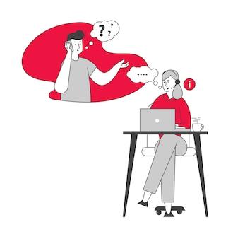 Mädchen im headset hotline berater chatten