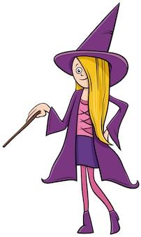 Mädchen im hexenkostüm an der halloween-partykarikaturillustration