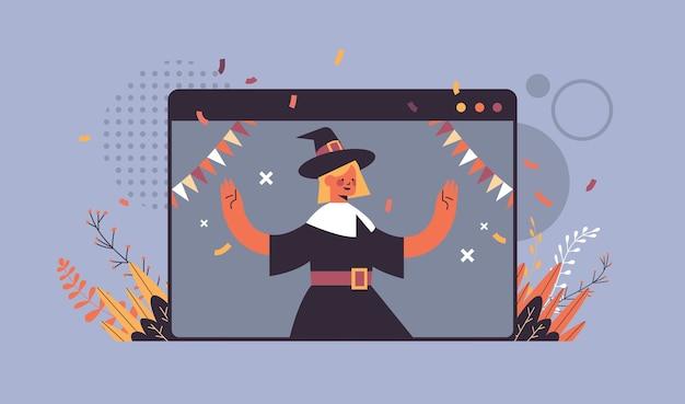 Mädchen im hexenkostüm feiert glücklichen halloween-feiertag selbstisolierung online-kommunikationskonzept webbrowser-fensterporträt horizontale vektorillustration