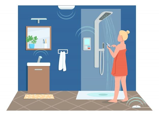 Mädchen im intelligenten badezimmer flache farbe gesichtslosen charakter. junge frau, die dusche fernsteuert. cartoon-illustration zur steuerung der technologie des internet der dinge für webgrafikdesign und -animation