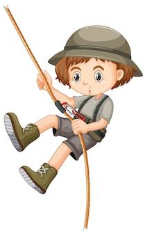 Mädchen im kletterseil des safari-outfits