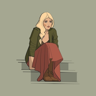 Mädchen im langen rock, der auf der treppe sitzt