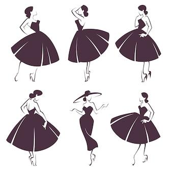 Mädchen im neuen look, damenkollektion im retro-stil