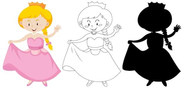 Mädchen im prinzessinkostüm in farbe und umriss und silhouette