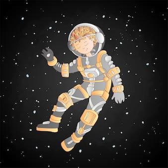 Mädchen im raumsturzhelm- und -astronautenkostüm, das zwischen sternen, im tiefen kosmos, zwischen sternen schwimmt.