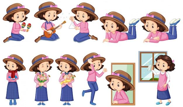 Mädchen im rosafarbenen hemd, das verschiedene tätigkeiten tut