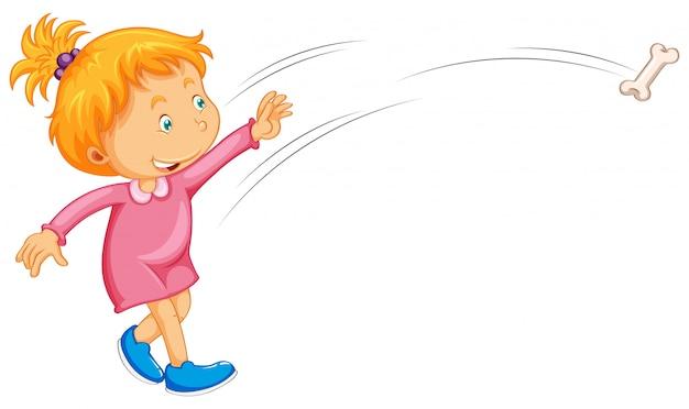 Mädchen im rosafarbenen kleid, das knochen wirft
