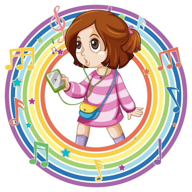 Mädchen im runden regenbogenrahmen mit melodiesymbolen