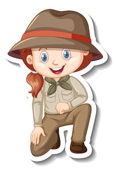 Mädchen im safari-outfit-cartoon-charakter-aufkleber