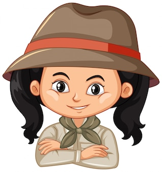 Mädchen im safari-outfit