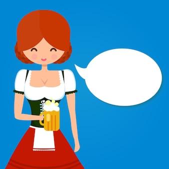 Mädchen im traditionellen deutschen trachtendirndl mit glas bier-sprechblase oktoberfest-illustration