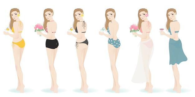Mädchen im unterschiedlichen badeanzug für den sommer lokalisiert