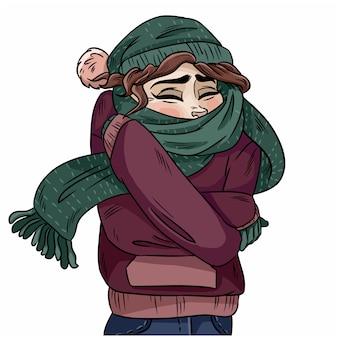 Mädchen im warmen gemütlichen schal. handgezeichnete farbe abbildung