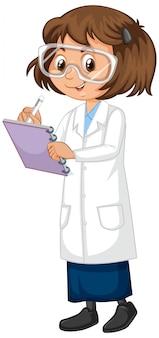 Mädchen im wissenschaftskleid auf isoliert