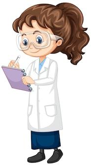 Mädchen im wissenschaftskleid auf isoliertem hintergrund