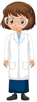 Mädchen im wissenschaftskleid auf lokalisiert