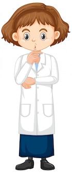Mädchen im wissenschaftskleid, das auf weiß steht