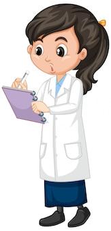 Mädchen im wissenschaftskleiderschreiben auf weiß