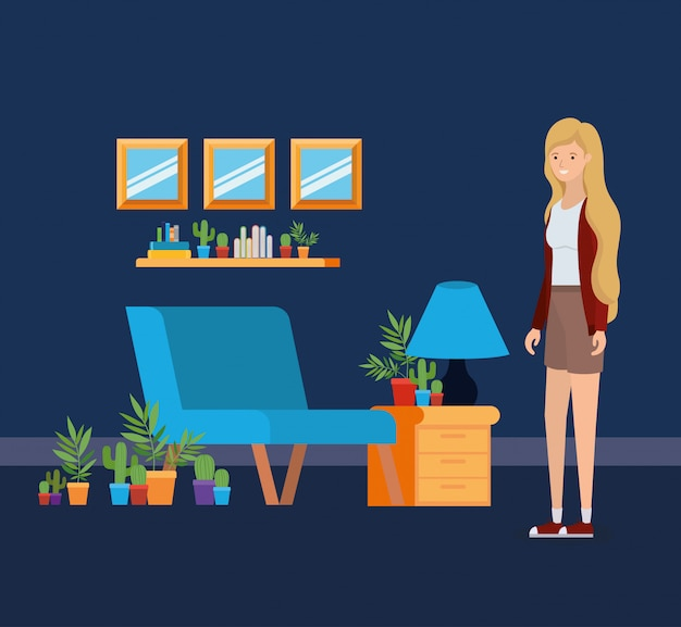 Mädchen im wohnzimmer