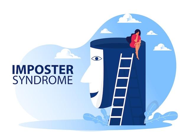 Mädchen-imposter-syndrom mit glücklichem maskiertem menschlichem kopfkonzept