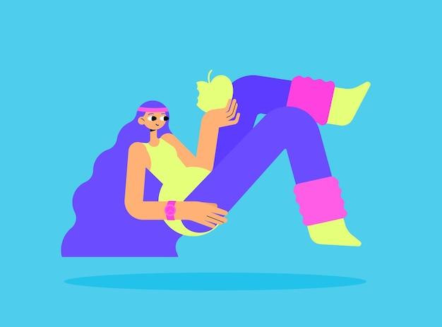 Mädchen in den leggings ein badeanzug und sockenillustration