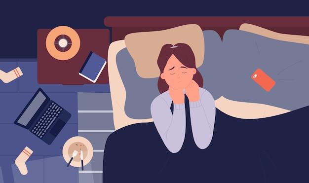 Mädchen in depressionen angst schlaflosigkeit problem in der nacht unglücklich verärgerte frau im bett liegend