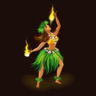 Mädchen in der hawaiischen volkskleidung mit fackeln für brennenden tanz.