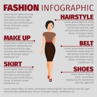 Mädchen in der infographic schablone der braunen kleidermode
