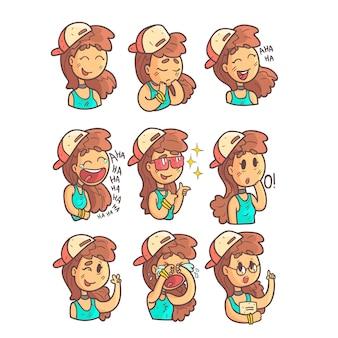 Mädchen in der kappe, im halsband und in der blauen oberen sammlung von handgezeichneten emoji-coolen umrissenen porträts