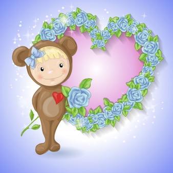 Mädchen in der klage eines teddybären mit einer rose.