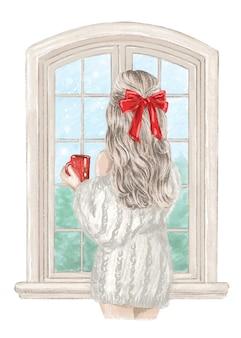Mädchen in der weihnachtshand gezeichneten illustration