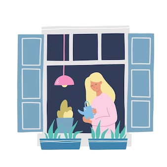 Mädchen in einem fenster, das pflanzen gießt. hand gezeichnete vektorillustration. bleiben sie zu hause konzept. selbstisolation während der quarantäne.