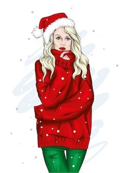 Mädchen in einem schönen pullover weihnachten. vektor.