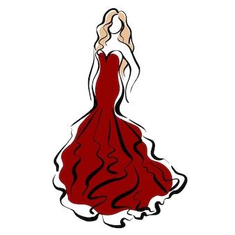 Mädchen in einer roten kleiderskizze-modeillustration