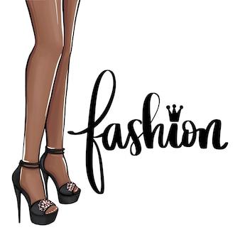 Mädchen in high heels. dunkle haut.